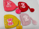 Mixed Colors Kids Cable Knit Pom Pom Beanie Hand Printing / Embr Printing Method