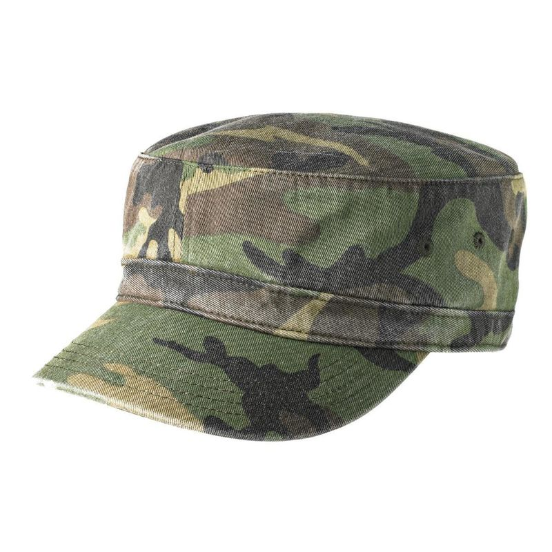 100% Cotton Twill Camo Flat Top Army Patrol Cap ,  Army Green Army Flat Cap