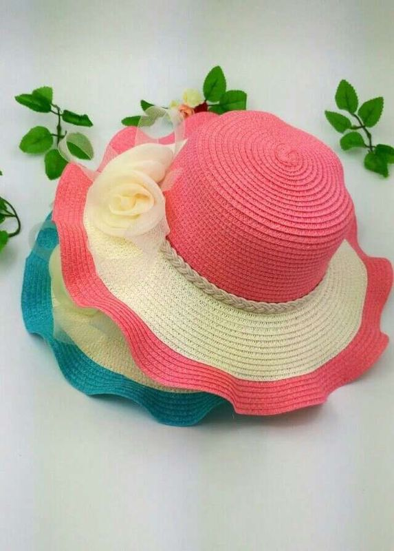 Nylon Floral Strip Straw Beach Hat Dyeing Bowknot Hand Printing Method Available